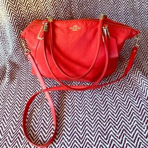 COACH RED PEBBLE LEATHER SATCHEL/CROSSBODY BAG